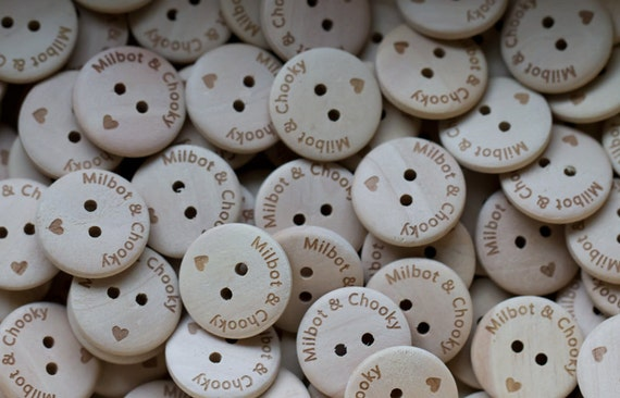 100 pcs natural plain wooden button personalized button your  own message or shop name
