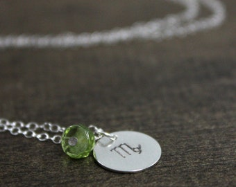 Zodiac Necklace - Sterling Silver, Peridot - Birthstone Necklace - August Virgo - Hand Stamped - Personalized Jewelry - Handmade Necklace