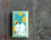 Weathered Wood, wall art,  vintage photo, sisters, family, best friend art,  polka dot artwork, hand painted wall art, green, mustard yellow