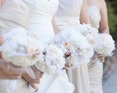 RESERVED Bridal Bouquet - Fabric Bouquet, Fabric Flower Bouquet with Lace -  Large Bouquet, Wedding, Vintage Wedding, Bridal Bouquet