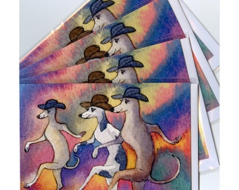 4 x Greyhound whippet lurcher dog greeting cards - line dancing