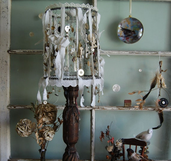 Trinkets and Baubles - Abandoned Vintage Bits and Pieces Shabby Chic Gypsy Charm Bracelet Lampshade OOAK FunkyJunkyArt