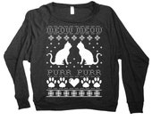 Womens Funny Cats Ugly Christmas Sweater Print Long Sleeve Sweatshirt Pullover (American Apparel Black)