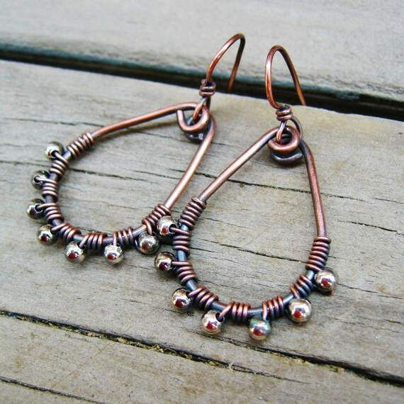 Antiqued Copper and Silver Wire Wrapped Teardrop Beaded Hoops