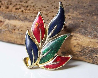 Vintage Pin, Vintage Brooch, Enamel Leaf Pin, Enamel Leaf Brooch, Blue Green and Red Enamel Brooch, Etsy, Etsy Jewelry