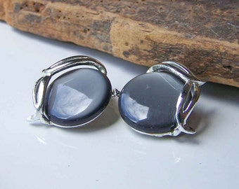 Clip On Earrings, Plastic Earrings, Plastic Jewelry, Vintage Earrings, Smokey Grey Plastic Earrings, Clip Ons, Etsy, Etsy Jewelry,