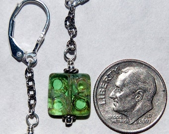 Coke bottle green textured Czech glass and sterling silver pierced dangling earrings