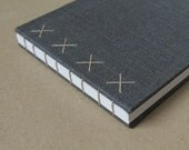 Coptic Bound Journal - Medium Size in Metallic Gray Linen