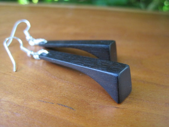 Recycled Piano Key Earrings - Black Wood Earrings - Angle -  Long - Ebony - Musical Jewelry -  Woodworking - Jet Black - Silver