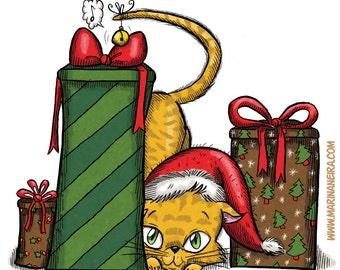 Kitty Among Gifts (DIGI STAMP)
