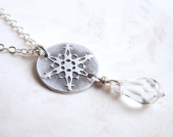 Small Snowflake Necklace faceted Swarovski crystal drop handmade unique charm recycled fine silver winter design .925 sterling chain