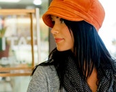 Gillian Hat- Womens Newsboy Cap in Rustic Orange- size Large