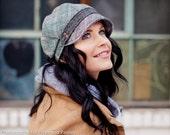 Gillian Hat- Grey Plaid Bias - size Small