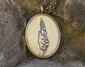 Feather Necklace..Miniature Watercolor Painting... Wearable Art Jewelry.. Hand Painted Necklace..Owl Feather Pendant  Jewelry