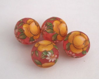 Matte pink with yellow rose Japanese tensha beads
