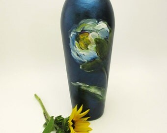 Hand Painted Glass Vase- Indigo- Blue and White- Original Floral Home Decor