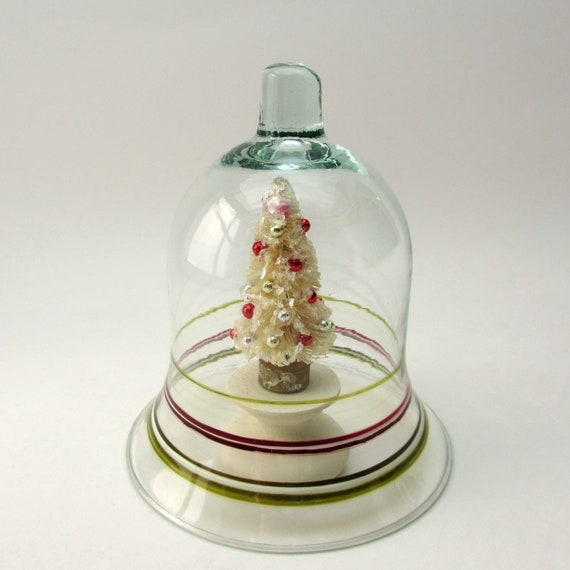 Painted glass cloche and vintage style bottlebrush tree for Mica decoration cloche