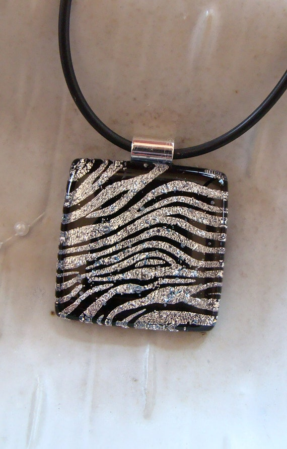 Fused Dichroic Glass Pendant, Glass Jewelry, Zebra, Silver, Necklace Included