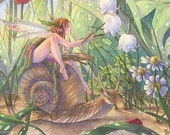 Fairy Art Print Artist Garden Fairy Painting Flowers riding Snail