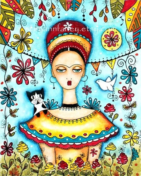 Frida Kahlo Girl Art Print, Whimsical Art, Mexican Art, Cat Folk Day of the Dead, Watercolor Mixed Media 8 x 10, Turquoise Blue