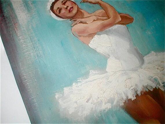 Swan Lake - Vintage 40s Original Oil Painting