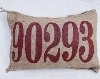 Burlap Charley Pillow - put your custom zip code here