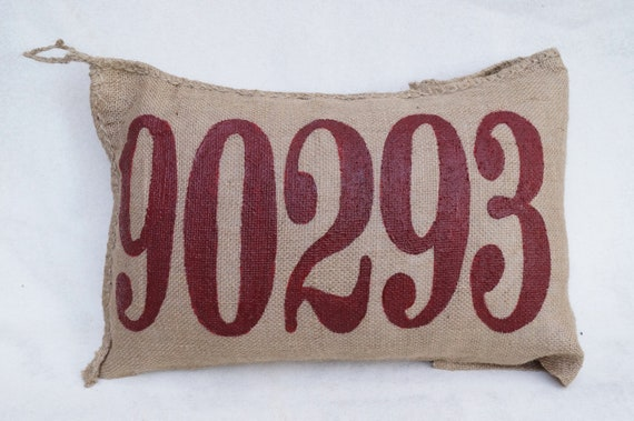 Burlap Charley Pillow - put your custom zip code here