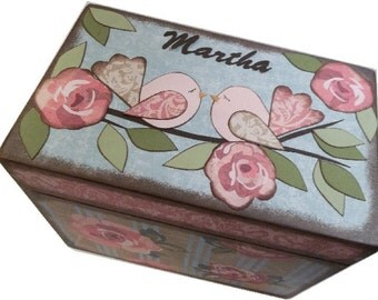 Wedding Guest Book Box Alternative, Personalized Wedding Box Holds 4x6 Cards, Bird Box, Wedding Gift, Bridal Shower Gift, MADE TO ORDER