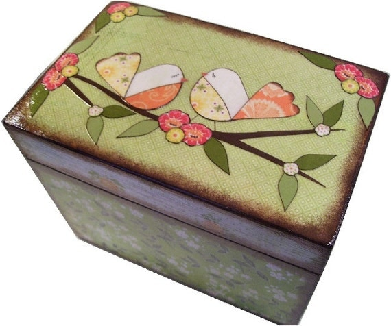 Recipe Box, Wooden, Decoupaged, Bridal Shower, Decorative, Holds 3x5 Cards, Recipe Organizer, Storage, Kitchen Decor, MADE TO ORDER