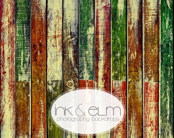 """Vinyl LARGE Photography Backdrop 6ft x 8ft, Photography Holiday Backdrop, Christmas Distressed Wood backdrop, Floordrop, """"Very Merry Planks"""""""