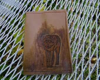 Small Leather Journal with Wolf Stamped on Camel Color Cover