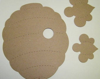 Bee Hive Bumble Bees Large Die Cut  from Kraft  Chipboard Pack of 1
