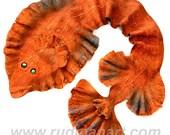 Halloween gift 20% discount Felted Art Scarf made from Wool and Silk nunofelting Flatfish Orange Rust Fish