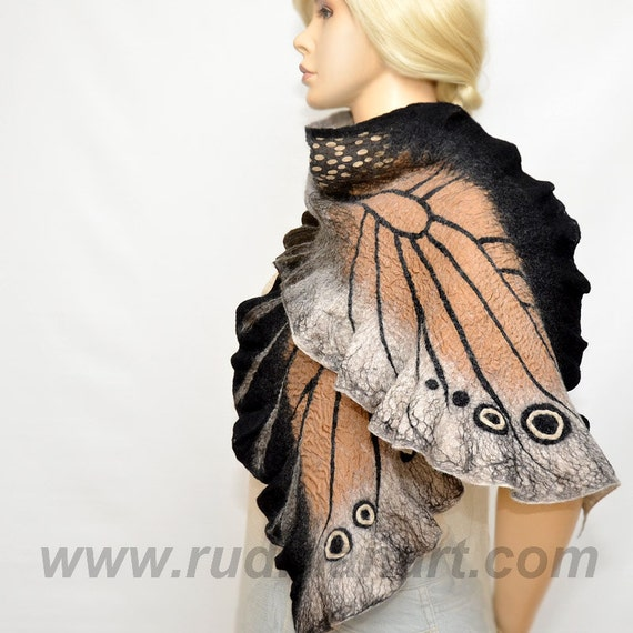 Halloween gift 20% discount Felted scarf Wrap Shawl Wool Silk butterfly organic natural eco materials Black Beige Grey Coffee Brown