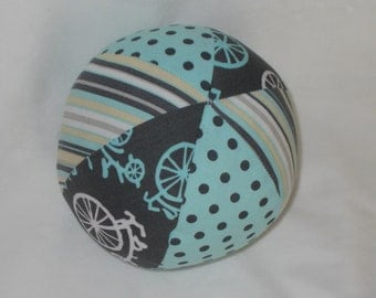 Blue Bicycles Fabric Ball Rattle