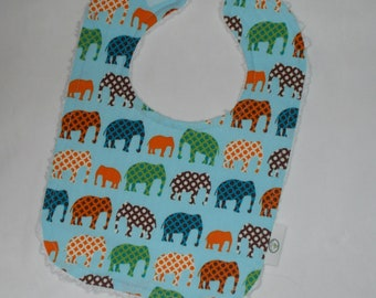 Blue Urban Zoo Elephants Fabric and Chenille Bib