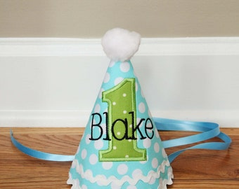 Boys First Birthday Party Hat - Darling aqua and green dots - Free personalization