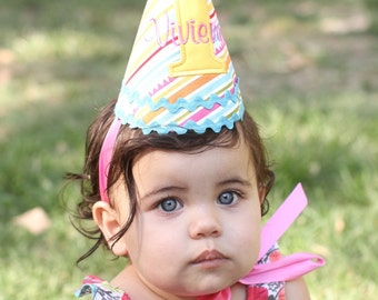First Birthday Party Hat - Sunny stripes in yellow, aqua, pink, and green - Free personalization
