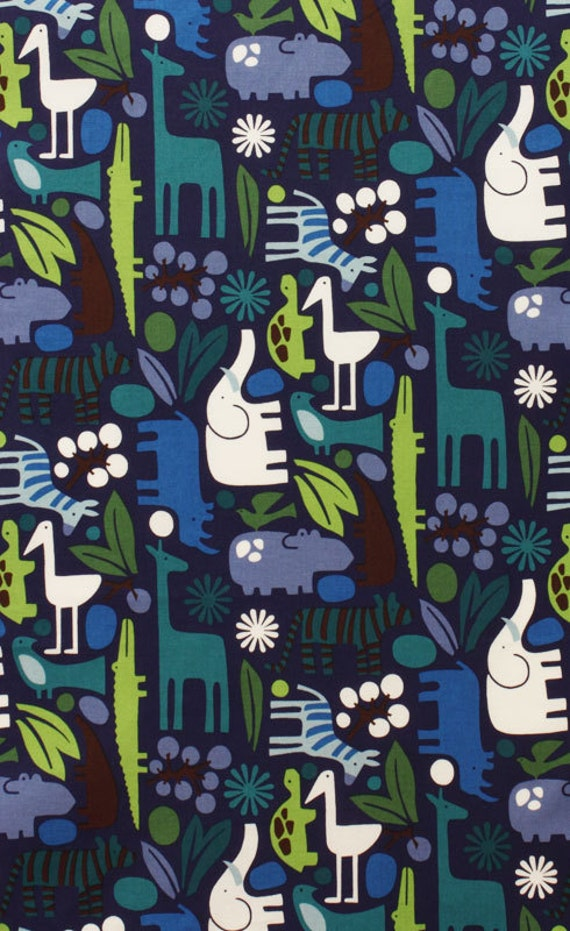2 - D Zoo Navy by Alexander Henry Fabric by the Yard , Designer Fabric