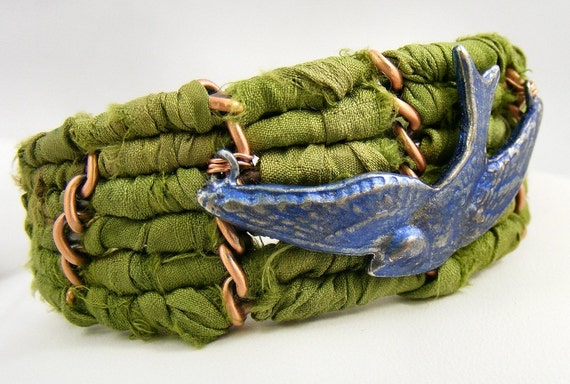 Bluebird on Green Sari Ribbon - Copper Cuff Bracelet