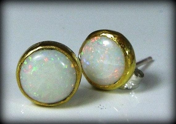 Opal and 24 karat gold stud gemstone earrings