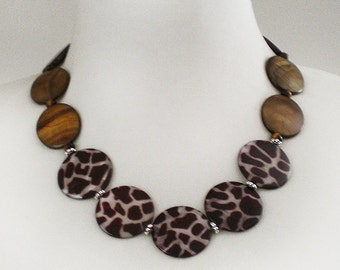 Brown Mother of Pearl Animal print Bold Statement Necklace