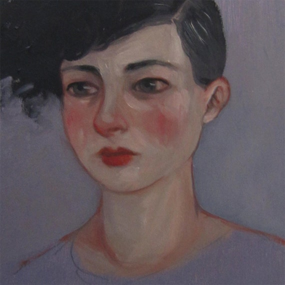 """Oil Painting Punk Portrait Original """"A Gray Afternoon in 1988"""" by Amy Abshier Reyes SALE"""
