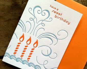 Sweet Birthday Card  - blue/orange