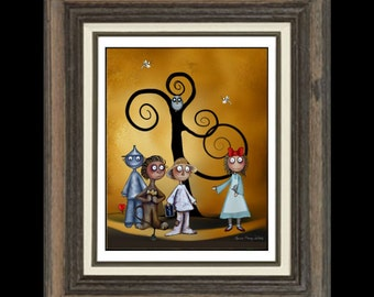 Whimsical Wizard of Oz Fairytale Fantasy Art Print  - 8 x 10 - Dorothy and Friends
