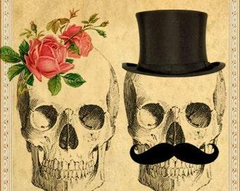 Sepia Printable DIY Wedding Invitation Suite - Digital Download - Custom Gothic Victorian Skull Day of The Dead Vintage Wedding Invitation