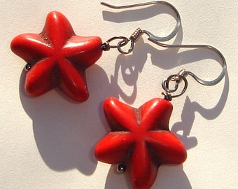 rustic red howlite star flower pierced dangle hand made wire wrapped earrings