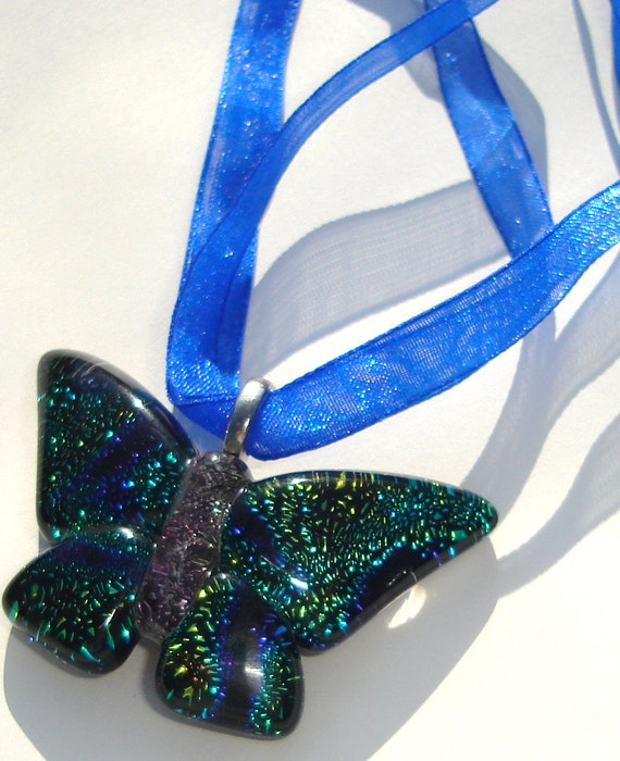colorful glass butterfly pendant on blue organza ribbon necklace