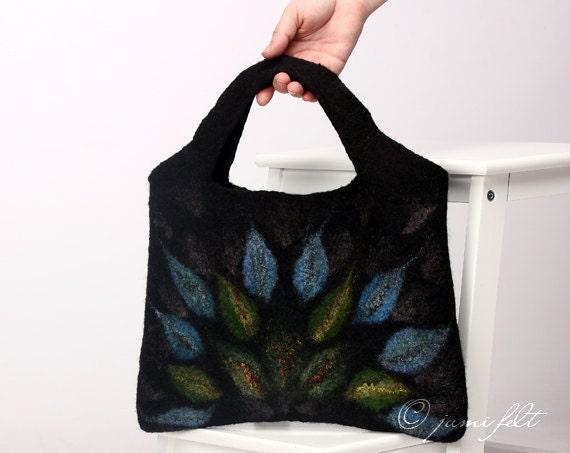 SALE - Felted Wool Handbag - Mystery flames - Blue Green Black