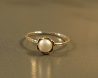 Silver pearl ring, petite simple engagement ring, fresh water pearl stacking ring, any size